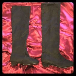Shoes - Black suede knee-high boots. Size 7